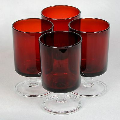 "4 Ruby Red Arcoroc France Water Goblets - Approx. 3"" Diameter X 5-1/8"""