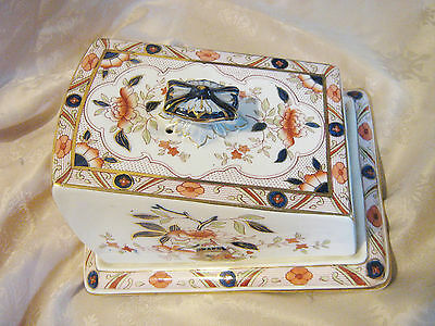 Vintage Burleigh Ware Japonica Staffordshire Cheese Dish with Cover in excond
