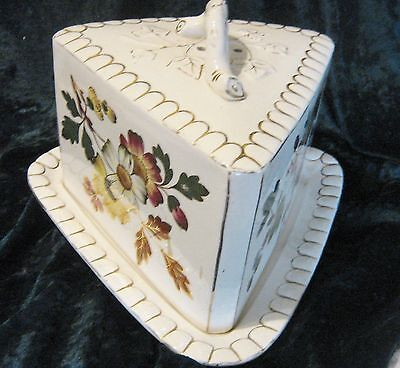 �� Victorian Staffordshire  Huge  wedge Cheese Dish Floral ��  gold scallop edge