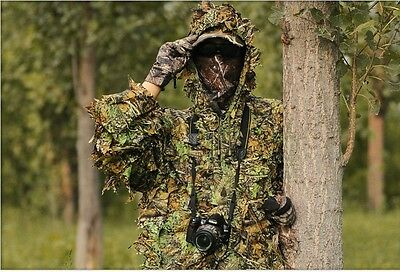 Leaf Ghillie Suit Woodland Camo Camouflage Clothing 3D Jungle Hunting Free Size