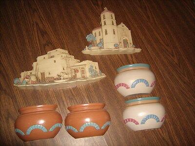 6 Pc Southwest Wall Decor by HOMCO Pots with Pockets & Placques Burwood