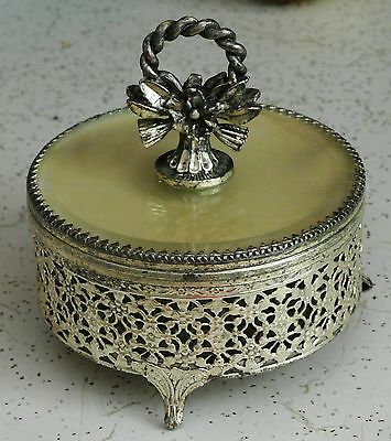 """Vintage Powder Jar w/Lid and Metal Stand-Entire Set 5"""" Tall x 4.25"""" Wide"""