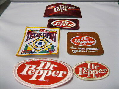 Dr Pepper Cloth Patches Five Are Cloth And  One Is Leather.  See Photo's