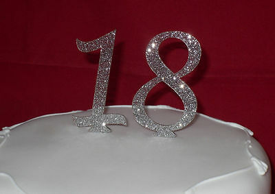 New GLITTER number cake toppers colours RED black GOLD blue PINK purple SILVER