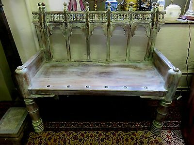 Beautiful Antique Reclaimed Indian Carved Wooden Painted Temble Bench