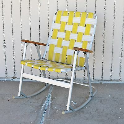 Vtg Yellow / White Aluminum Webbed Rocking Folding Lawn Chair -Camping Airstream