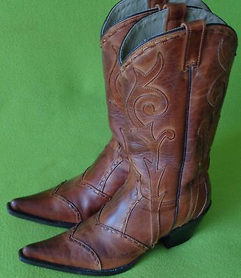 Woman's 9 Handmade STETSON Whipstitched Leather Cowboy Western Boots w/Boot BAG