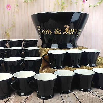 H F Coors Chefsware Tom & Jerry Punch Bowl 18 Cups Mugs Art Deco MCM Vtg Antique