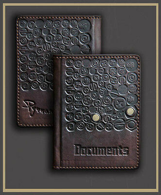 BROWN Genuine LEATHER Auto Documents COVER Drivers Licence ART HANDMADE 44