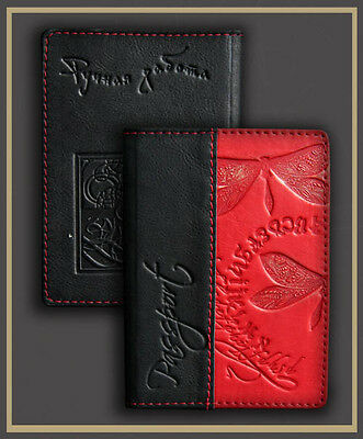 HANDMADE Genuine LEATHER PASSPORT COVER holder case RED dragonfly engrawing 54