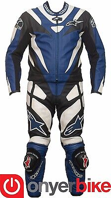 Alpinestars TLD Two 2 Piece Motorcycle Motorbike Race Leather Suit Blue NEW SALE