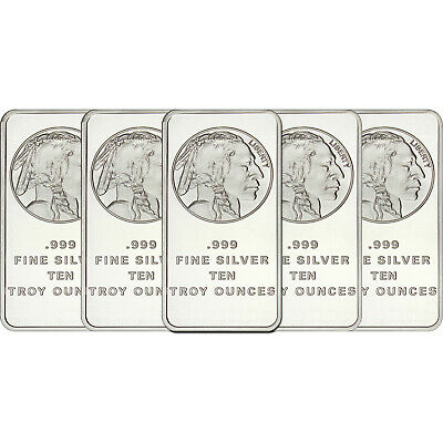 American Buffalo Bar by SilverTowne 10oz - LOT OF 5