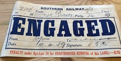 1939 Southern Railway 'Engaged' compartment label