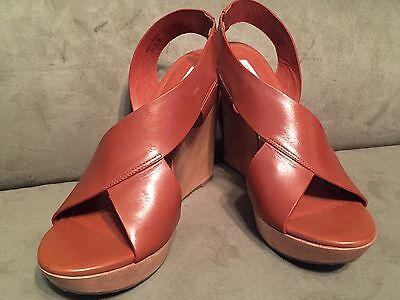 Diane von Furstenberg Leather SUNNY Wedge Sandals Size 8.5 - 9.5 $298