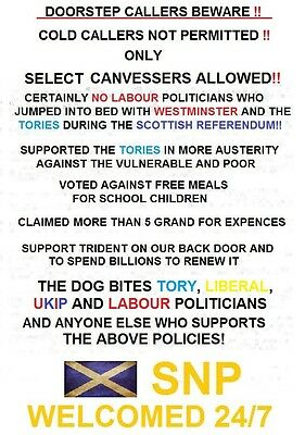 Laminated Door / Window Sign Scottish Indy2 Rallies Anti UK Tory Labour Lib UKIP