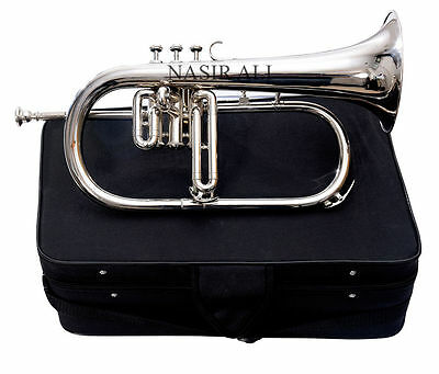 PROFESSIONALS TESTED FLUGEL HORN FOR SALE Bb PITCH NICKEL PLATED CHROME POLISHED