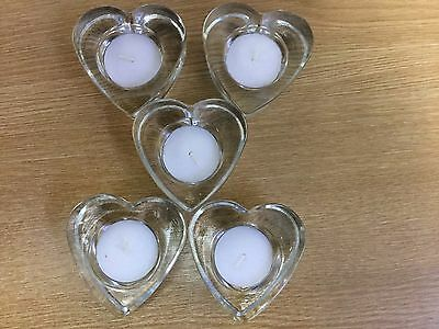 Glass Heart Tea Light Holders x 72 Wedding party or Valentines decorations