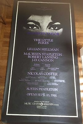 "Elizabeth Taylor ""Little Foxes"" 42""X82"" Broadway Poster Ahmanson LA 1981 3 SHEET"