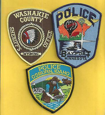 3 Nice Looking Patches- Minnesota-Idaho-Wyoming- Great Set To Get
