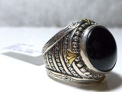 Konstantino Sterling Silver Bronze Onyx Cabochon Shield Mens Womens Ring Re$560