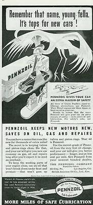 1936 Tops For New Cars Pennzoil Print Ad