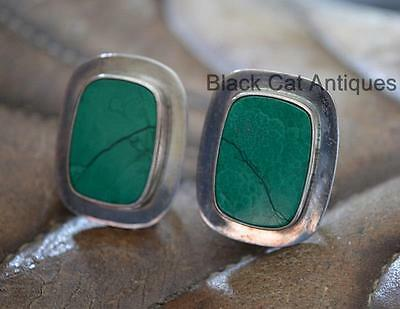 Unique Vintage Green Malachite .925 Sterling Silver French Back Earrings Mexico