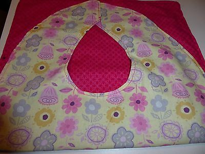 Adult Bibs/cover-ups for adults, seniors, disabled; PINK & PURPLE FLOWERS/YELLOW