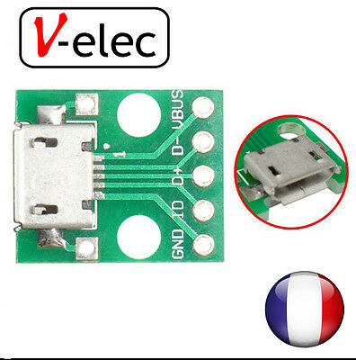 1229# MICRO USB to DIP Adapter 5pin Female Connector B Type PCB Converter