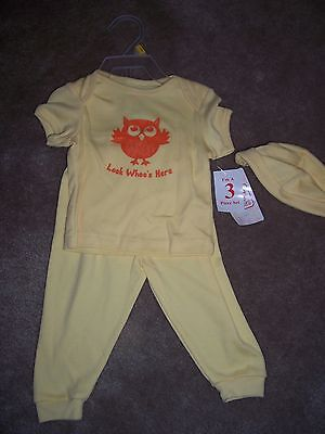 NWT Girls Owl Yellow 3 Piece Shirt Pants & Hat Set  Size 3-6 Months