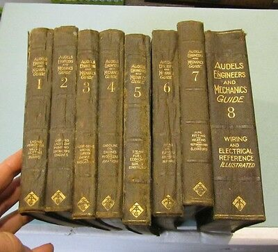 1921 Audels Engineers and Mechanics Guide 8 Book Set Great Photos Science Gilt