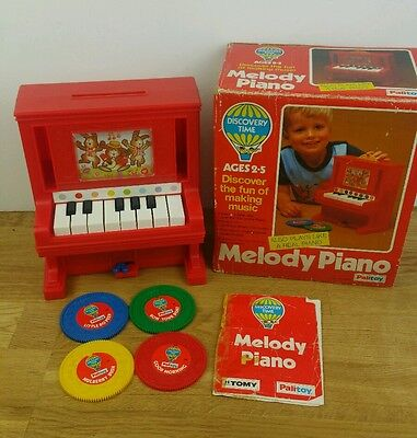 Vintage 1978 MELODY PIANO Tomy Palitoy Boxed with Records Battery Operated Toy