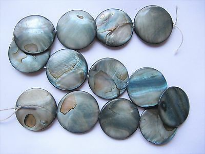 Mother of pearl MOP shell grey 30mm flat round beads 15""
