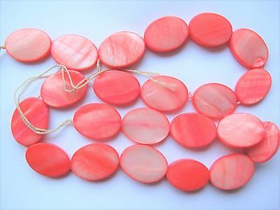 Mother of pearl shell MOP coral salmon pink 18mm x 13mm flat oval beads 15""