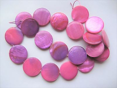 Mother of pearl shell MOP pink purple 20mm flat round coin beads 15""
