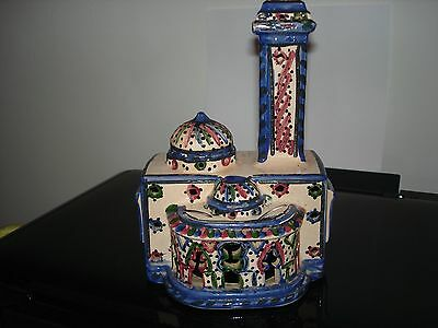"""ornament of temple/building in pale pink and blues. 7.5""""x4.75x3.75"""".vgc"""