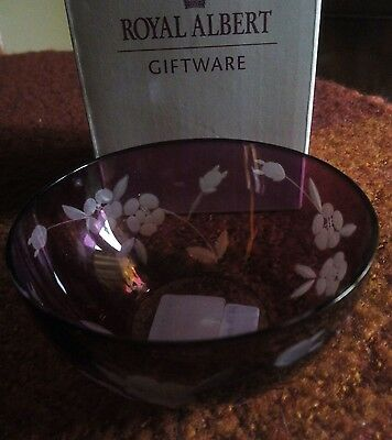 Cranberry Cut Glass 10 cm Dish/Bowl by Royal Albert. Boxed