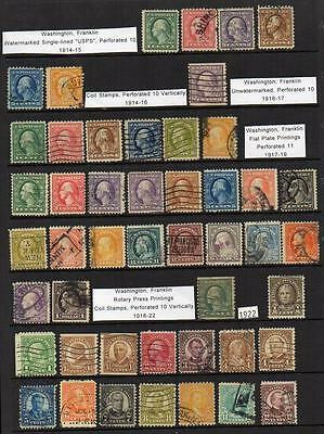 U.S.A. Group of 47 1914-1922 Fine Used stamps   All attractive & collectable