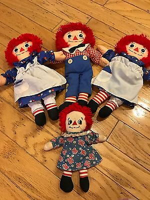 Lot of FOUR 4 RAG DOLLS 3 Raggedy Ann 1 Raggedy Andy Small Medium Size
