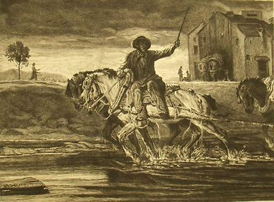 Alexandre G. Decamps signed etching; 'Boathorses' 1842