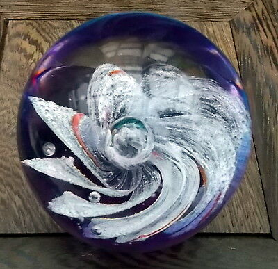 Vintage Glass Paperweight , Blown Glass Possibly Murano