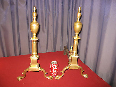 Brass Pr Handmade Colonial Chippendale Andirons Hallmarked Cray 1900s Boston