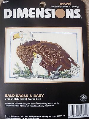 New Dimensions Bald Eagle & Baby Crewel Embroidery Kit