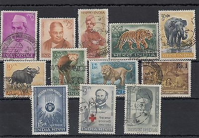 India. 12 --1962/3 Used Stamps On Stockcard