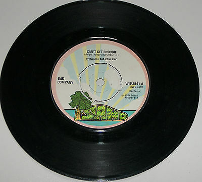 """Bad Company Can't Get Enough 7"""" Vinyl Single Record 1974 Good WIP 6191"""