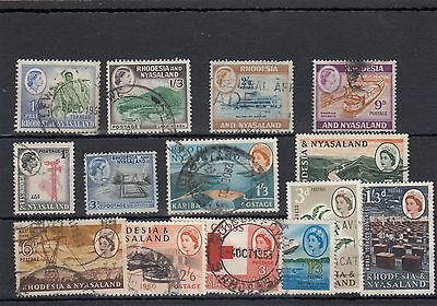 Rhodesia & Nyasaland.14 -- Early Qe2 Used  Stamps On Stockcard
