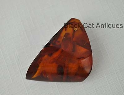 German Estate Find - Genuine Cognac Amber - Angular Polished Pendant 9.3 Grams