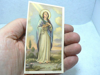 Full Color Vintage Italian Holy Card Depicting Saint Lucy