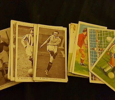 Set of 14 Vintage Football cards from cigarette and tea packets
