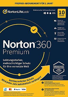 Norton Security Premium | 10 PC / Geräte / 1 Jahr | 2019 | 2018| 2017 PC, Multy