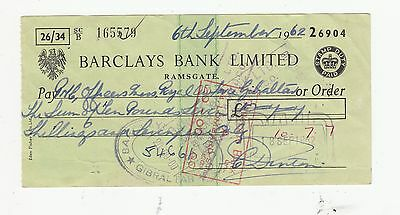 GIBRALTAR STAMP ON BARCLAYS BANK 1962 CHEQUE(R.A.F. OFFICERS MESS)  .Rfno.109.